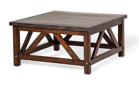 Square Rustic Coffee Table Brighton Rustic Square Coffee Table With Metal Top Cappuccino Finish