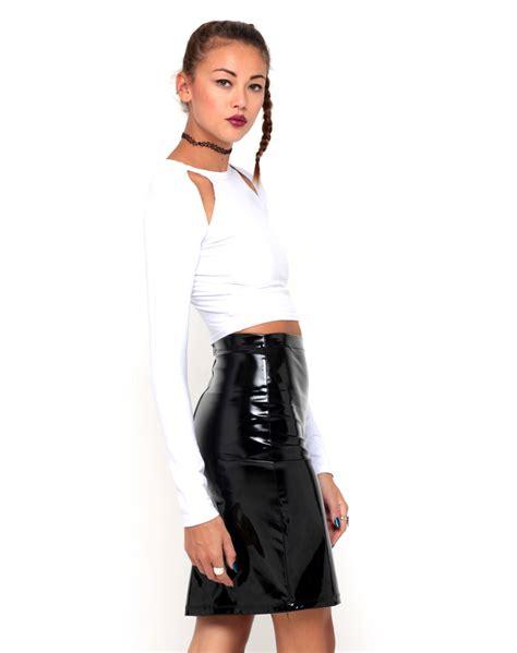 buy motel highwaisted pencil skirt in black vinyl at motel