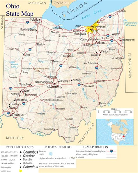 Search For In State Ohio State Map A Large Detailed Map Of Ohio State Usa