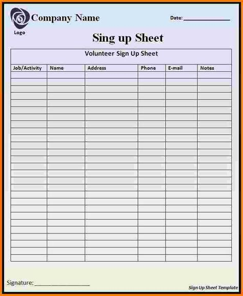 vendor sign in sheet template vendor sign in sheet template gallery template design ideas