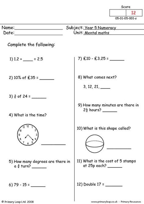 mental maths 1 primaryleap co uk