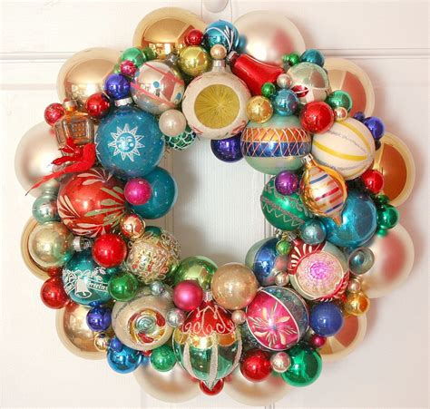 christmas garlandballs vintage ornaments wreath shiny brite fabulous