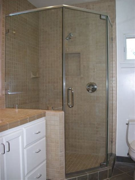Standing Shower Door Standing Neo Angle Shower Door Traditional Bathroom Los Angeles By Algami Glass Doors
