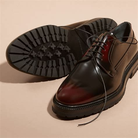 burberry shoes burberry burnished leather derby shoes bordeaux for lyst