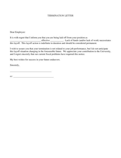 Insurance Termination Letter From Employer Termination Letter Legalforms Org