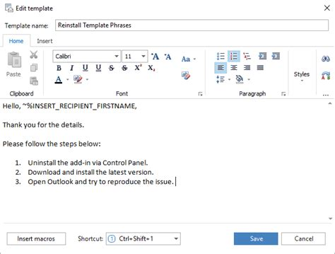 template phrases for microsoft outlook united addins