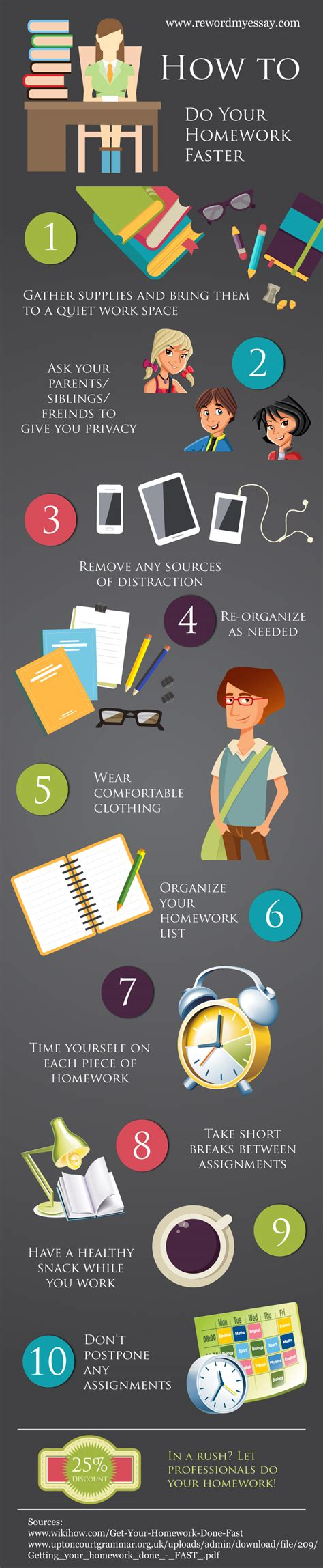 how to get your to be a service how to do your homework faster ucollect infographics