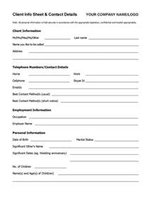 Client Assessment Form Template by Client Info Sheet Template Coaching Tools From The