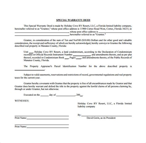 warranty templates sle warranty deed form template 9 free documents in