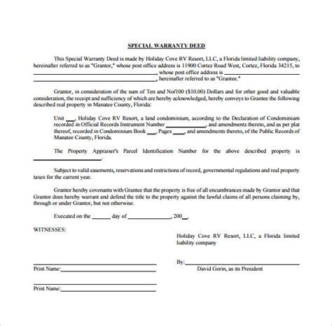 10 Warranty Deed Form Templates Sle Templates