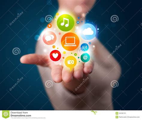 beautiful technology presenting colorful technology icons and symbols stock image image 34185701