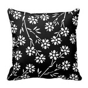 black and white floral decorative pillow zazzle