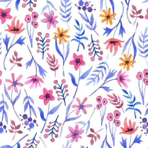 watercolor pattern vector watercolor seamless pattern with flowers vector free