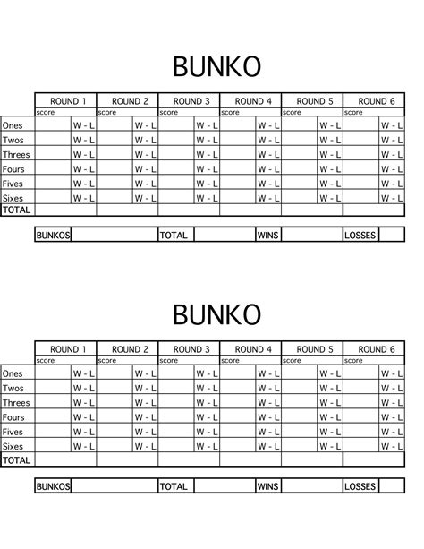 bunco punch card template bunko scorecard jpg craft bunco