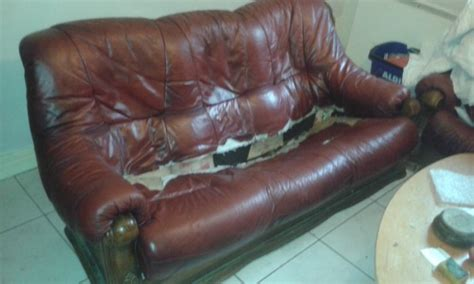 leather couch wearing out worn out broken red leather couch for sale in phibsborough