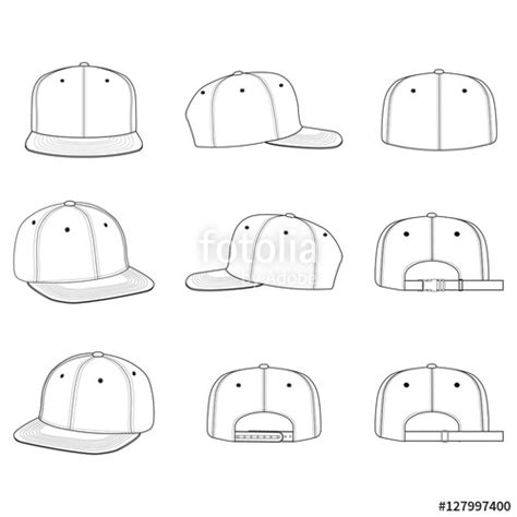 Quot Snapback Cap Vector Illustration Flat Sketches Template Quot Stock Image And Royalty Free Vector Snapback Design Template