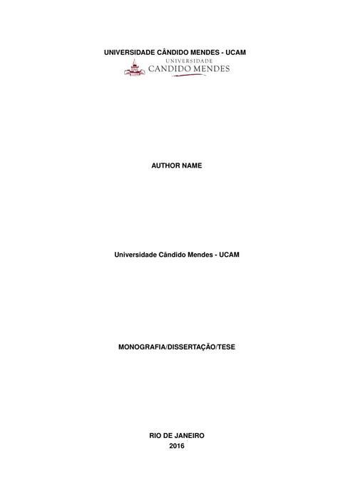Modelo TCC Universidade Cândido Mendes - UCAM - FastFormat