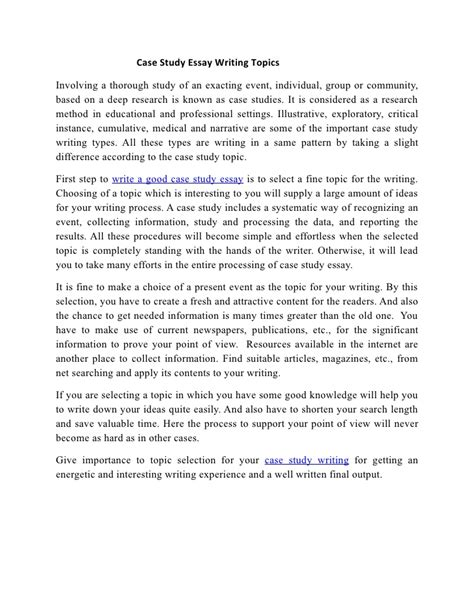 pattern of writing case study case study essay writing topics