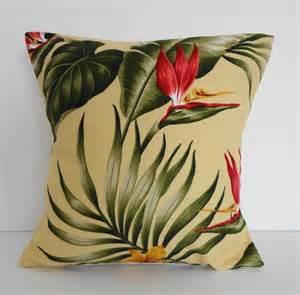 tropical throw pillow cover hawaiian print 12x12 yellow