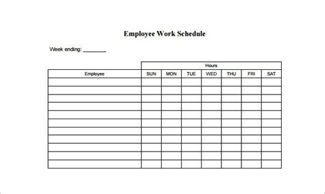 Work Schedule Template For Multiple Employees Listmachinepro Com Sle Work Schedule Template