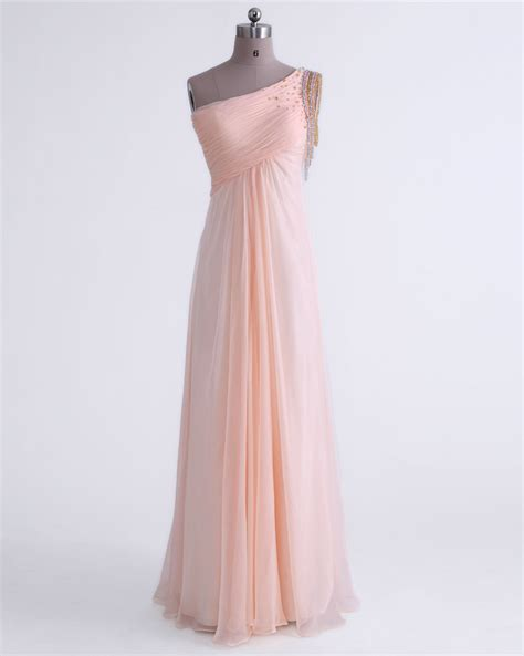 Handmade Prom Dresses - one shoulder pearl pink floor length chiffon