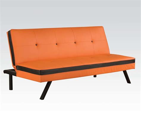 Orange Futons by Orange Black Faux Leather Futon Sofa Ebay