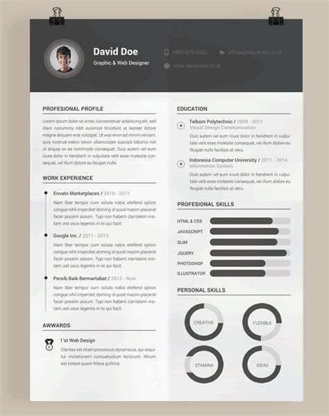 20 Beautiful Free Resume Templates For Designers Resume Psd Template For Photoshop