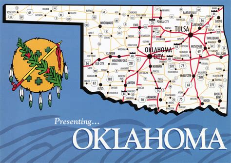 map oklahoma state large map of oklahoma state with roads and highways