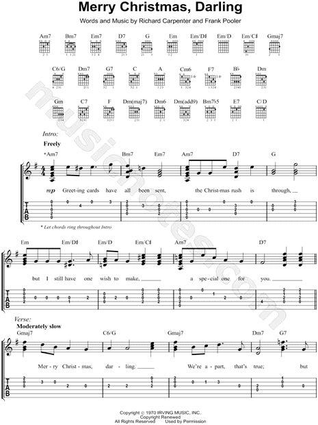 carpenters merry christmas darling guitar tab   major  print sku mn