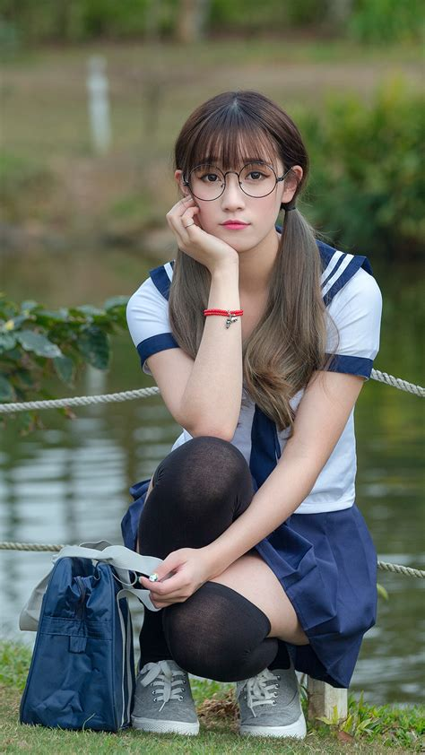 wallpaper girl school images cute schoolgirls golf beautiful asian sitting 1440x2560