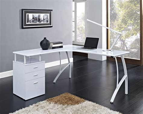 L Shaped Desk White L Shaped Corner Computer Desk Office Home Pc Table In Black Or White 3 Drawers Ebay