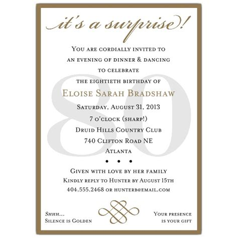 free 80th birthday invitation templates classic 80th birthday gold invitations