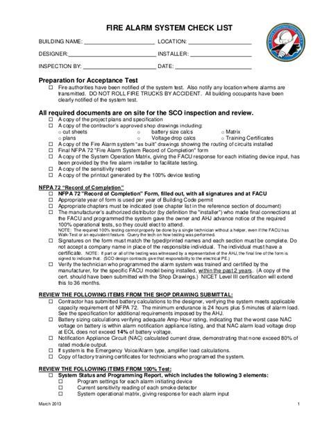 alarm inspection report template alarm checklist