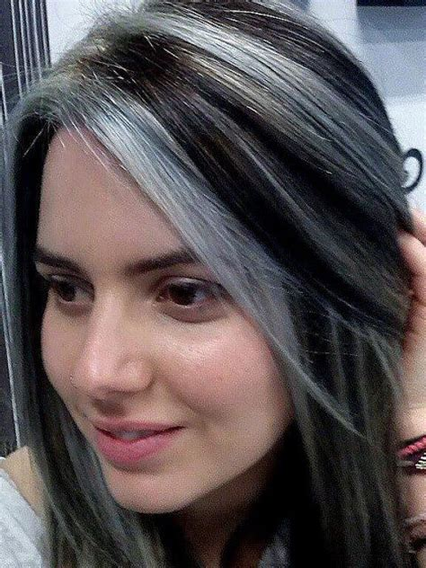 Lovely Grey Streak Hair | lovely chunky streaks lowlights 5 pinterest hair