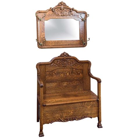 Matching Oak Furniture by Quarter Sawn Oak Bench With Matching Mirror