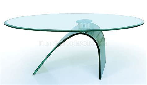 clear glass top artistic coffee table with c shape glass base