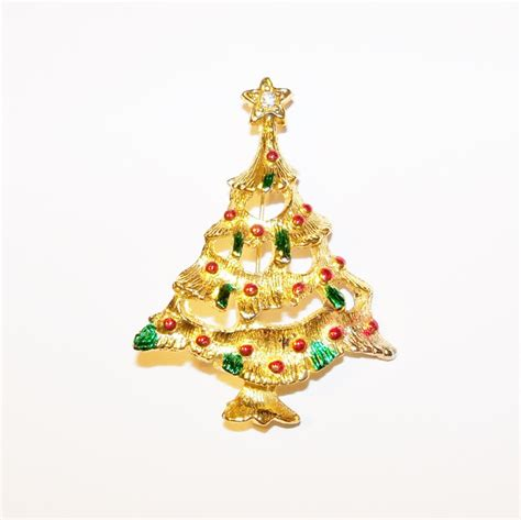 vintage brooch pin christmas tree gold tone winter jewelry