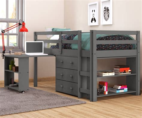 size low loft bed with desk size low loft bed in grey finish 760dg donco