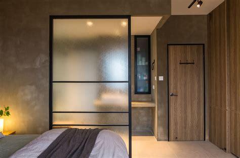 master bedroom glass partition rustic bedroom blue wood