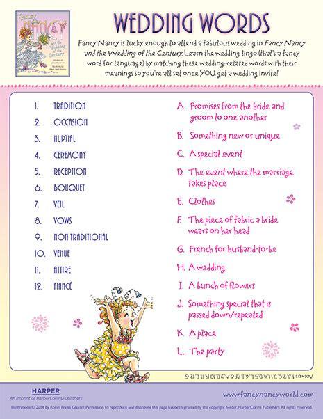 Wedding Words by Wedding Words Printable Fancy Nancy Printable