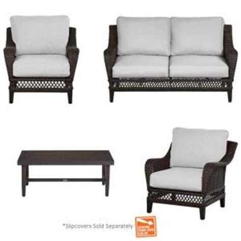hton bay woodbury sofa patio seating slipcover set furniture hton bay fenton