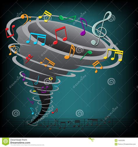 dark color musical notes vector music notes tornado on the dark background stock vector