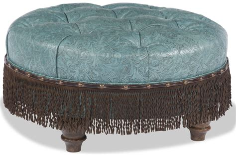 Blue Ottoman With Brown Fringe Blue Ottoman