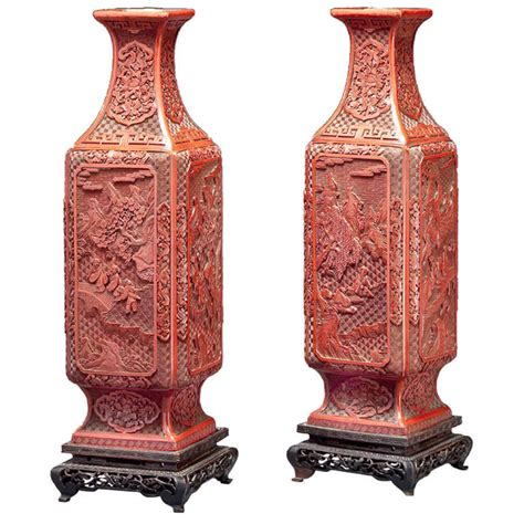 a pair of cinnabar lacquer vases at 1stdibs