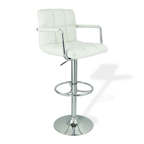 Hydraulic Bar Stools 2 Swivel White W Arm Pu Leather Modern Adjustable