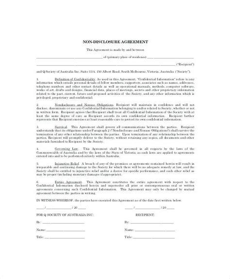 Basic Personal Non Disclosure Agreement Exle Standard Nda Template Format Sle Standard Nda Template Free