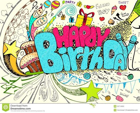 doodle 4 birthdays birthday doodle stock vector image of design cheerful