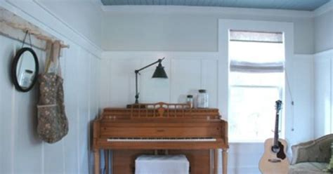 wainscoting which is painted clean white a waverly valspar color above the wainscoting