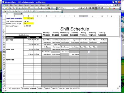 employee work schedule template excel