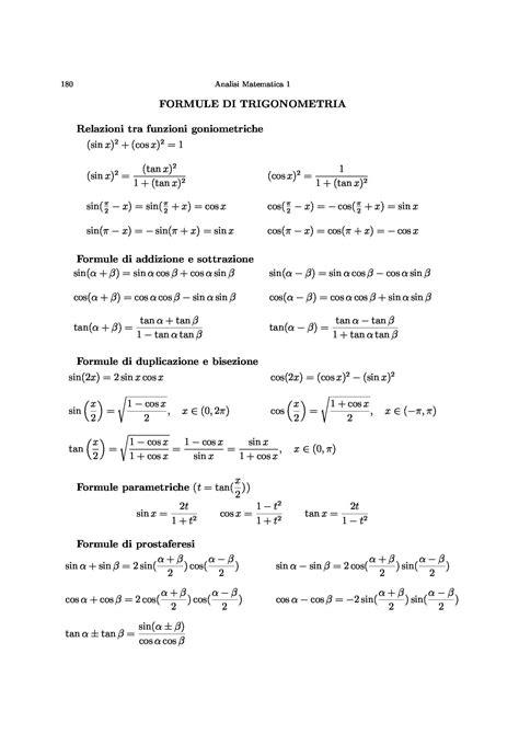 Formule analisi 1 - Dispense